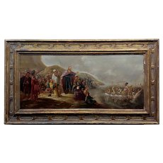 """Moses Crossing the Red Sea - 17th century Oil painting oil painting on panel -unsigned  frame size 41 x 22"""" board size"""