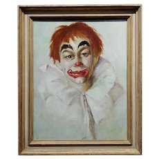 Sue Nell - Portrait of a Blue Eyes Clown  - 1960s Oil painting