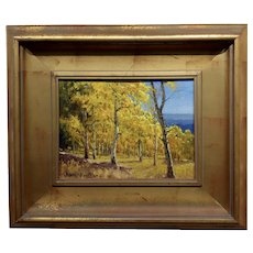 Charles Pruitt -Fall in a New Mexico Aspen Trees Landscape -Oil painting
