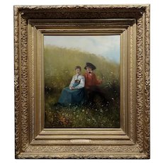 Gustave Jundt -Young Lovers in a Flower Garden -19th century Oil painting