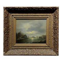 Peters - 19th century Nocturnal Village Lakeshore Landscape -OIl painting