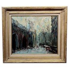 Kosinski - City Street siding a Bridge - Oil painting