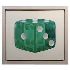 Feeling Lucky & a Emerald Green Dice - Oil painting on Canvas