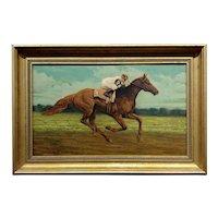 Charles Graig - Jockey on a Racehorse - 19th century Oil painting