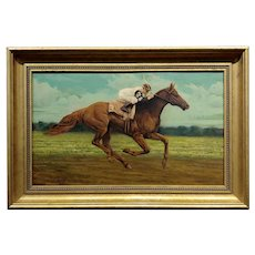 Charles Graig - Jockey on a Racehorse - 19th century Oil painting
