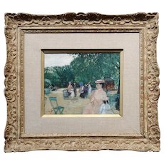 Francois Gall -Family w/ Kids at the Park-French Impressionist Oil Painting