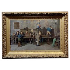 Francesco Bergamini -The Teacher & the disobedient school boy-19th c. Oil painting