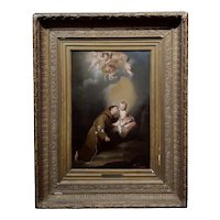 St. Christopher w/ Baby & Cherubs-Spanish School-18th century oil painting