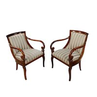 English Regency Vintage 1920s Walnut & upholstered Armchairs -A pair