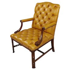 English Regency Library Armchair-Gorgeous Tafted Mustard Leather
