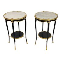 French Louis XV Style Ebonized Round Side Tables - A Pair