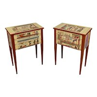 Egyptian Revival Style Bedside Tables Nightstands -a Pair