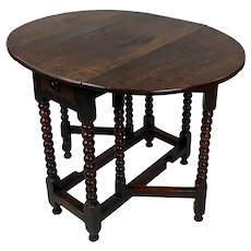 18th c. English Carved Oak Drop leaf Table on Sausage Turned Legs