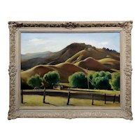 Emil Kosa Jr. 1930s Beautiful California Hills in a Farm landscape-Oil Painting