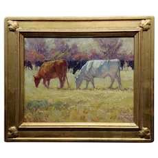 Joyce Lee -Cattle in an impressionist Montana Ranch Landscape-Oil painting