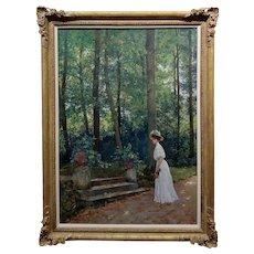 Roger Joseph Jourdain -Woman in white at the Rose Garden-19th c. Oil painting