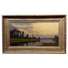 Jacques Henri Delpy -Romantic Reflections on the River Seine at Sunset -Oil painting