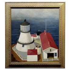 George Von Physter - Light house in Marin County Point Reyes -1958 Oil painting