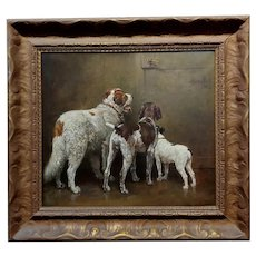 Caspar Von Reth -3 Dogs looking at the door for the Owner to come home-Oil painting