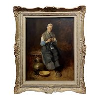 Louis Mettling - Young Woman Knitting -19th century genre Oil Painting