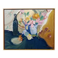 Jean Sardi -Still Life of a Wine Bottle & Flowers - French Expressionist Oil painting