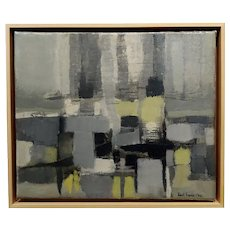 Robert Aaron Frame -1960 Abstract Shades of Yellow & Gray - Oil painting