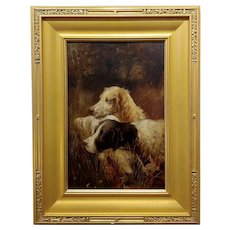 19th century Portrait of a two Hunting Dogs in action - Oil Painting