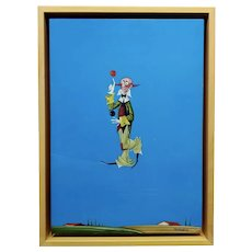Veniero Terziano -The Equilibrist Clown crossing a Rope - Oil painting c1960s