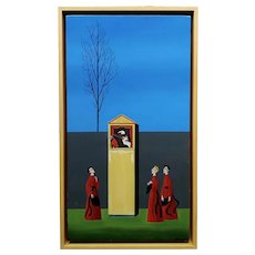 Veniero Terziano -3 Cardinals at the Pulcinella Puppet Show-Oil painting c1960s