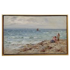 John Henderson -Mother w/her little ones waiting for her Fisherman hubby -19th c. Oil painting