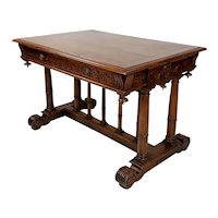 French Renaissance Walnut Library Table