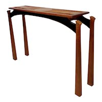 Tai Lake Fine Woodworking carved Hawaiian Koa Hall Table Console