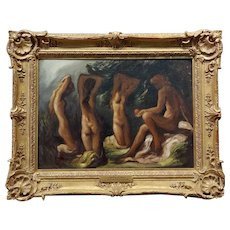 Lorser Feitelson -Paris & the 3 Nude Goddesses -Oil painting c.1920s