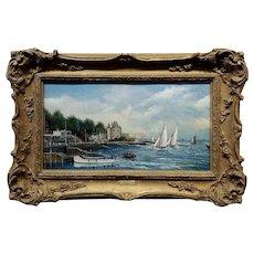 J. Fairhead -Sail boat in a Dutch Harbor -19th century Oil Painting