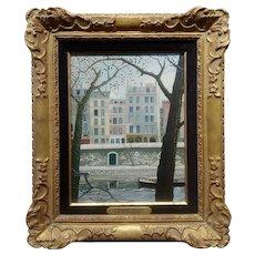 Rotislav Racoff - Les Maisons,Parisian scene along the River -Oil Painting