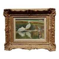 Attributed to John Singer Sargent - 2 Pelicans in a Pond-Oil Painting