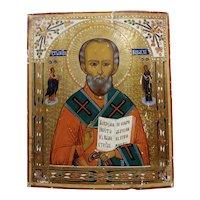 Saint Nicholas -19th century Russian Icon on panel