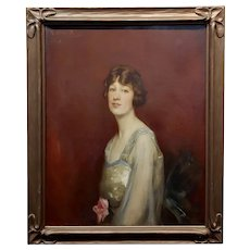 Roland Hinton Perry -Portrait of a Woman in a Stylish Dress -c.1919 Oil Painting