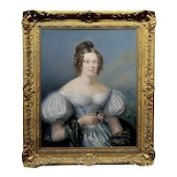 19th century Portrait of a Young English Aristocratic Woman-Oil painting