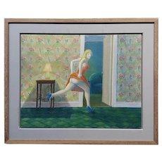 Richard Wilson -Girl Running Seminude in her new apartment-Oil painting