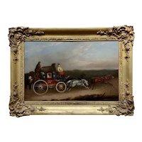 Georgian Horse Drawn Royal Mail Coach-18th century Oil painting