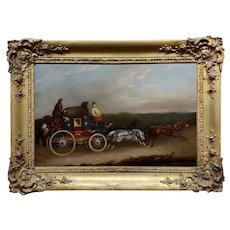 Georgian Horse Drawn Royal Mail Coach-18th century Oil painting