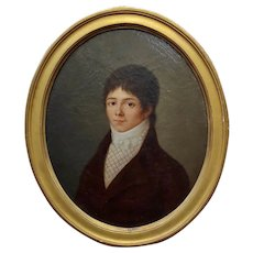 18th century French Portrait of a Young Aristocratic Man - Oil Painting