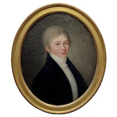 18th c. Portrait of a Young Aristocratic Man w/ blue eyes-Oil Painting