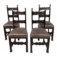 19th century Spanish Revival Chairs w/Leather upholstery-Set of 4