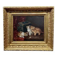 19th c. French school-Curious Cats looking at a Gold Watch -Oil painting