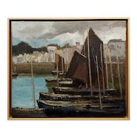 George Elmer Browne- Sail Boats at the Marina -Oil painting
