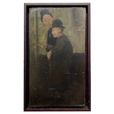 Fritz Feigler - Two old Friends in Derby & Top Hats - Oil painting