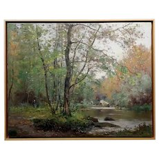 Jean Constant Pape -River in the forest-19th century French Impressionist Oil painting