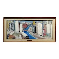 William Olendorf -Chicago River City View -Oil painting